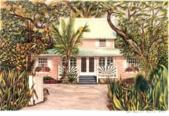 Pink house on Captiva Island Florida